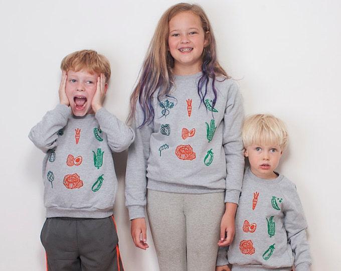 Eat Your Veggies Shirt, Kids Sweatshirt, Back to School, 4T-12 Years