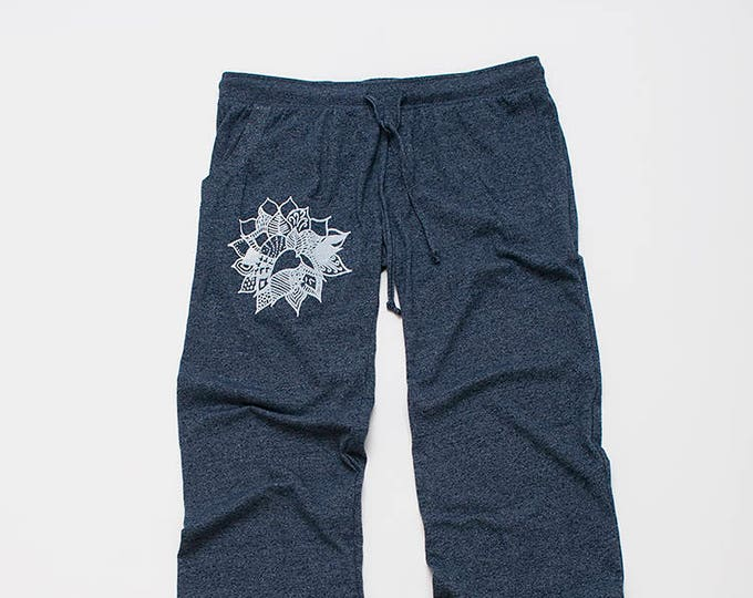 find your center Lotus Pants, Lounge Pants, Lightweight Pants, Blue Pants, Yoga Gift