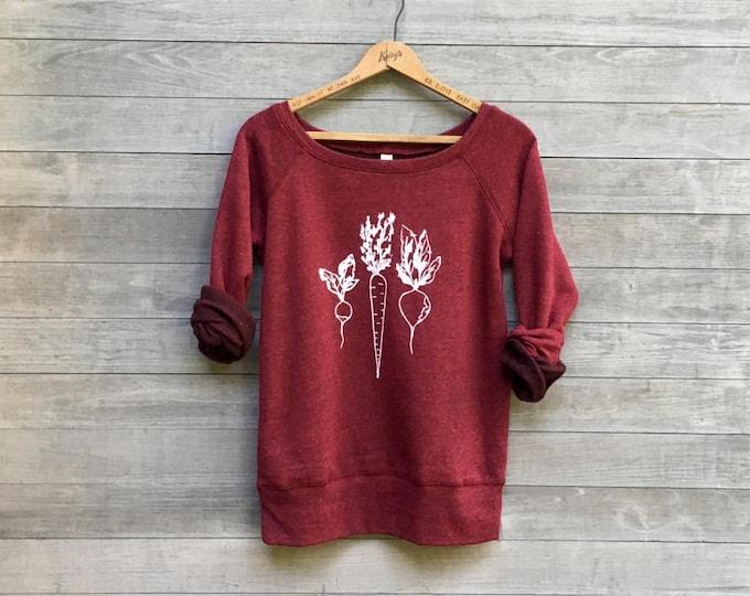 Root Veggies Sweatshirt, Vegan Shirt, Gift for a Gardener, Vegetarian Shirt, Nutritionist Gift, Chef, Cook, Cozy Sweatshirt