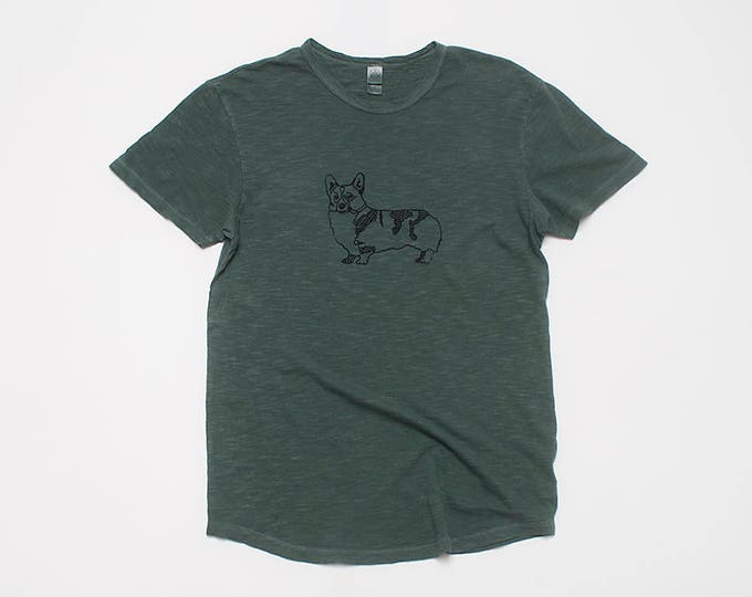 Corgi Shirt, Gift for a Guy, Corgi Tee, Workout Tee, Moss Green Tshirt, Corgi Gift, 100% Cotton