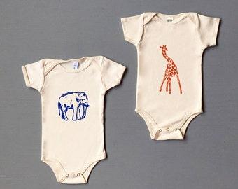 Safari Baby Set, Elephant One Piece, Giraffe One Piece, Baby Gift, Newborn, 3-6, 6-12 months