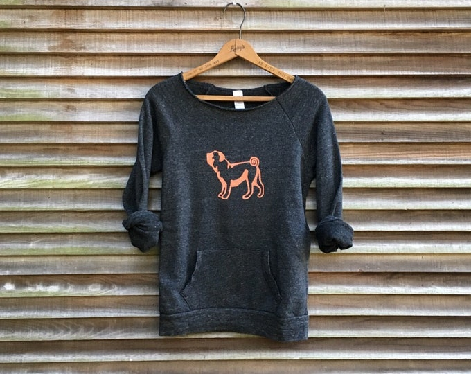 cute as a button Pug Sweatshirt, Pug Sweater, Pug Gift, Little Dog Lover, Girlfriend Gift, Feminine Sweatshirt, Cozy Sweatshirt