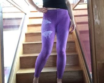 Flutterby Leggings, Yoga Leggings, Hand Dyed Leggings, Amethyst Purple, Workout Leggings