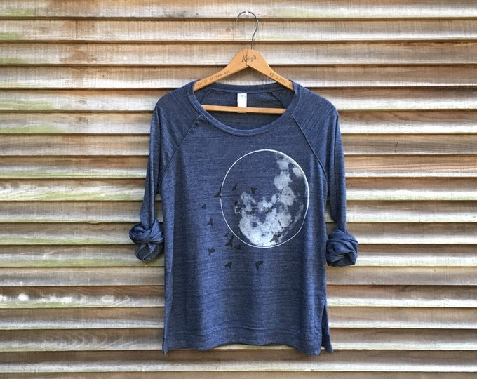 full moon at midnight Slouchy Pullover, Moon Shirt, Space Shirt, Yoga Pullover, Lightweight Top