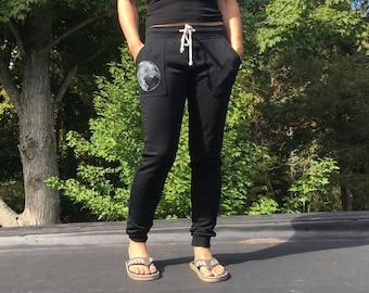 Favorite Sweatpants with Full Moon, Yoga Sweats, Workout Sweats, Long Weekend Pants, Cozy Pants