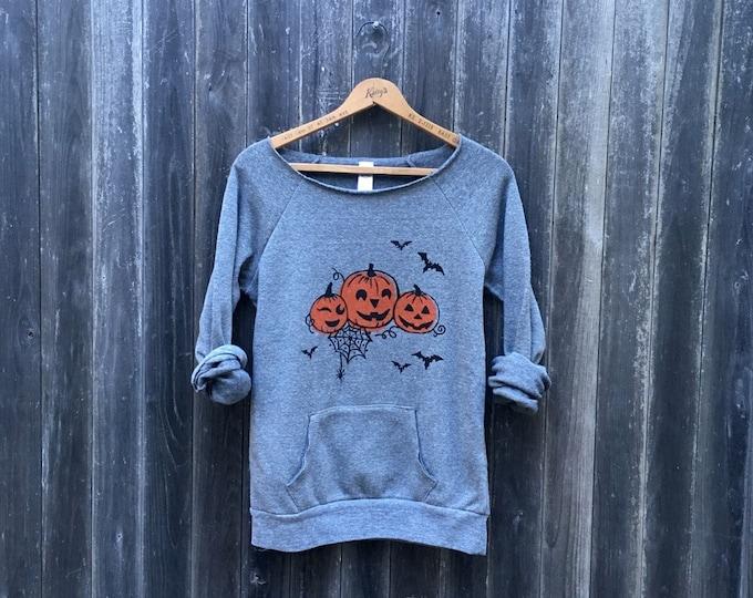 Halloween Sweater, Pumpkin Sweater, Bat Shirt, Trick or Treat Top, Autumn Shirt, Halloween Gift, Cozy Sweater