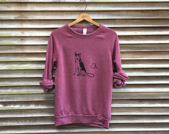lets go camping Husky Sweater, Camping Shirt, Husky Shirt, Dog Sweater, Cozy Top, S,M,L,XL
