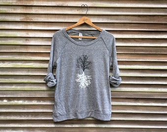Shadow Tree Pullover, Yoga Gift and Slouchy, Loose Fitting Shirt for Hiking