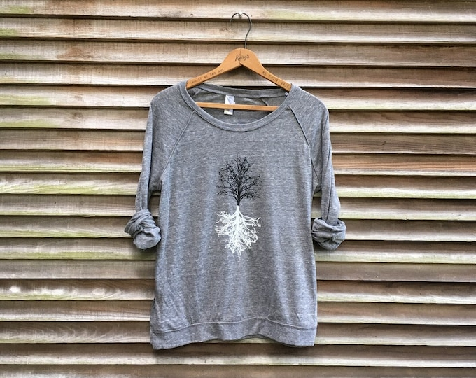 Shadow Tree Pullover, Yoga Gift and Slouchy, Loose Fitting Shirt for Hiking, Nature Lover Gift, Tree Shirt