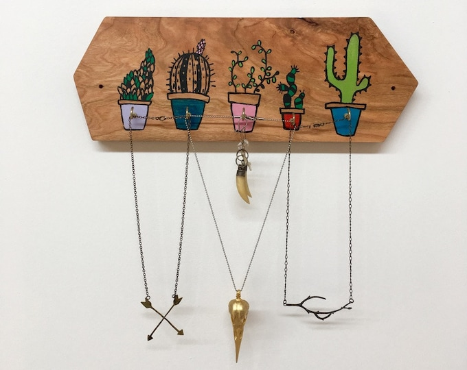 Cactus Jewelry Holder, Cactus Gift, Unique Gift, Unique Girlfriend Gift, Necklace Display, Hand Painted Gift, Wood Decor