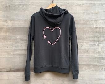 Heart Hoodie, Valentine's Day, Organic Hoodie, Anniversary Gift, Love Gift