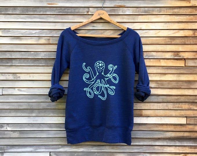 lost at sea Octopus Shirt, Yoga Top, Nautical Top, Octopus Gift, Ocean, Off Shoulder Top, Girlfriend Gift, Fun Sweatshirt