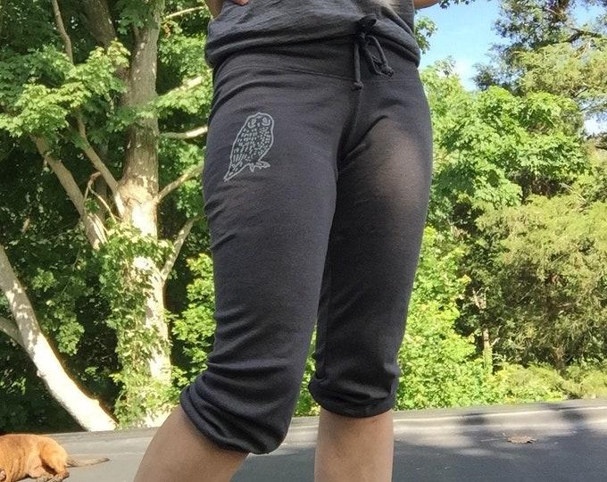 Baby Owl Yoga Pants, Cropped Pants, Capris, PJ's, Pajama Bottoms, Owl Gift, Yogi Gift, Summer Pants