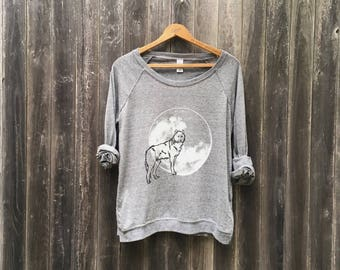 Into the Wild Wolf Shirt, Yoga Pullover, Long Sleeve Tee, Comfy Shirt, S,M,L,XL