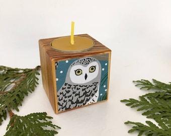 Owl Tea Light, Owl Votive, Owl Gift, Stocking Stuffer, Christmas Gift, Housewarming Gift, Reclaimed Wood