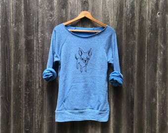 Rescue Me Chihuahua Sweatshirt, Yoga Top, Dog Shirt, Small Dog Shirt, Dog Mom Gift, Blue Sweater, Gift for a Dog Sitter