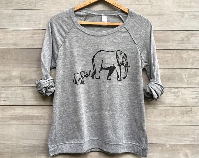 Elephant Shirt, Gift for Mom, Lightweight Pullover, Yoga Shirt, Gift for an Elephant Lover, Long Sleeve Tee