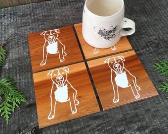 Pit Bull Coasters, Dog Coasters, Dog Gift, Wooden Coasters, Stocking Stuffer, Year of the Dog Gift