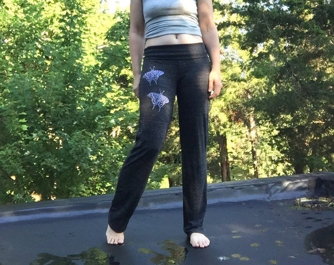 flutterby Long Yoga Pants, Lounge Pants, Butterfly Print, Pajama Pants, Comfy Pants, Namaste Pants, Lightweight Pants, Yoga Gift