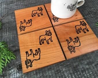 French Bulldog Coasters, Frenchie Gift, Housewarming Gift, Dog Coasters, Year of the Dog Gift