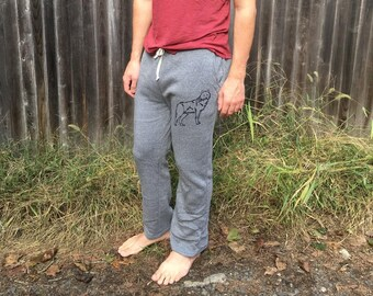 Hustle and Flow pants, Gym Sweats, Gift for a Guy, Wolf Sweatpants, Workout Sweats, S,M,L,XL