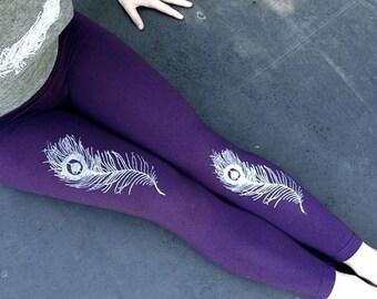 light as a feather Peacock Leggings, Yoga Leggings, Purple Leggings, XS-XL