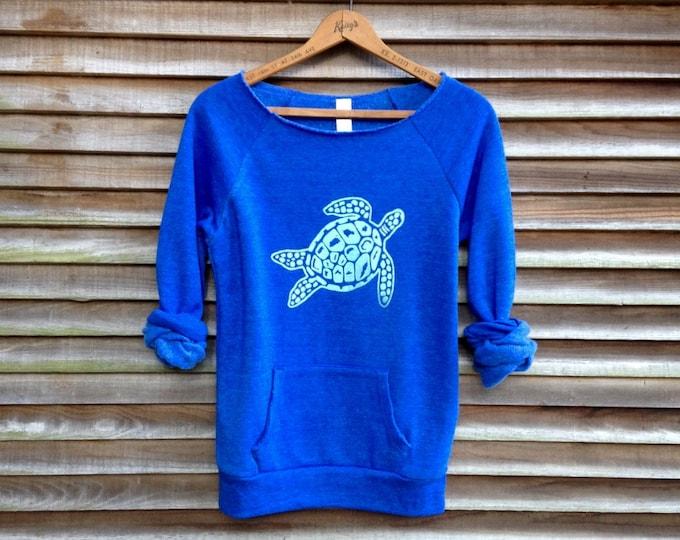 be still my Sea Turtle Sweatshirt, Boho Sweater, Beach Top, Turtle Shirt, Gift for a Marine Biologist, Yoga Top, Blue Sweater