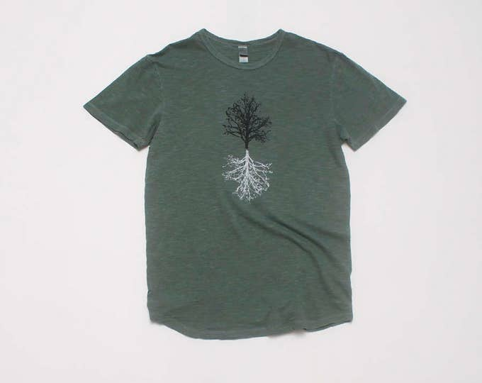 The Hiking Tee, Gym Tee, Gift for a Guy, Outdoor Shirt, Camping Shirt, Tree Design, Nature Tee, 100% Cotton