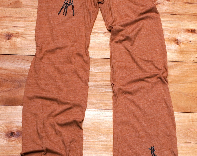 long winded Giraffe Yoga Pants in Terracotta, Giraffe Gift, Cute Lounge Pants, Drawstring Pants, Giraffe Pajamas
