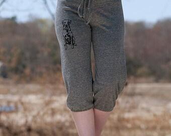sit...stay...wander...Lab Cropped Pants, Dog Pants, Workout Pants, S,M,L,XL