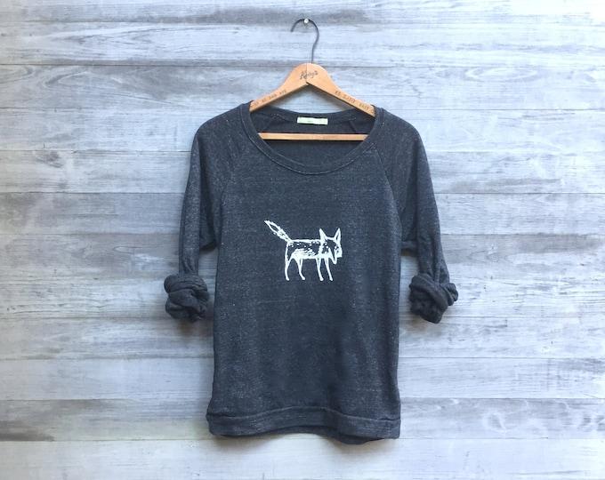 clever me Fox sweatshirt, Fox Sweater, Yoga Top, Fox Gift, Girlfriend Gift, Cozy Sweatshirt, Charcoal Sweater