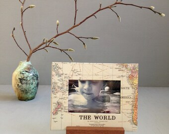 World Map Frame, Gift for Dad, Gift for a Traveler, Unique Picture Frame