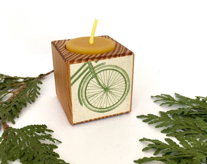 Bicycle Wheel Votive, Bike Gift, Stocking Stuffer, Bicycle Candle, Reclaimed Wood, Tea Light, Gift under 20