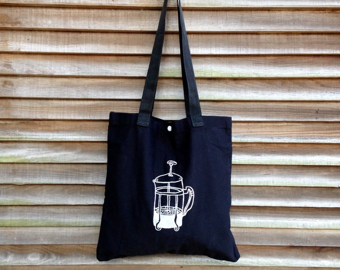 French Press Tote, Coffee Bag, Gift for a Coffee Lover, Reusable Tote