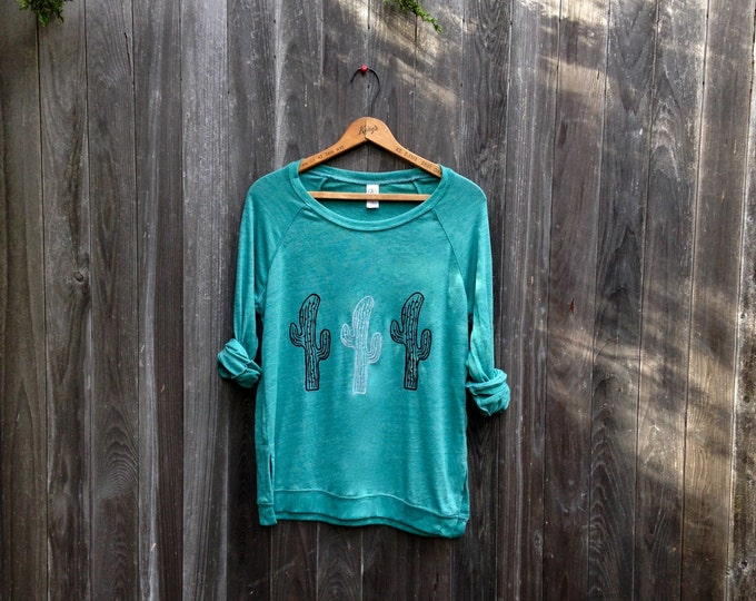 desert girl Cactus Shirt, Slouchy Pullover, Yoga Top, Cactus Gift, Girlfriend Gift, Plant Lady, Green Shirt, Long Sleeve Tee