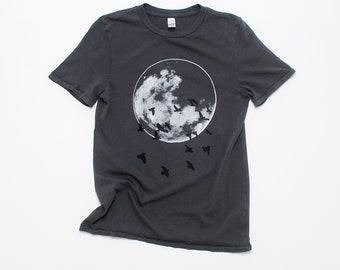 Moon Tshirt, Guy's Tee, Gift for Dad, Outdoor Gift, Nature Tee, Hiking Tee, Camping Tee, Full Moon, 100% Cotton