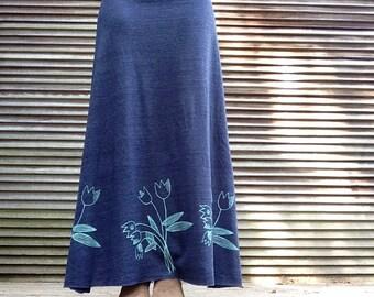 bring me Tulips Skirt, Maxi Skirt, Floral Skirt, Gift for Mom, S,M,L