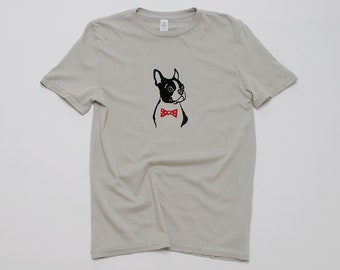 Boston Terrier Shirt, Dog Shirt, Unisex Tee, Bowtie Dog, Boston Terrier Gift, Dog Walker, Dog Groomer, 100% Cotton