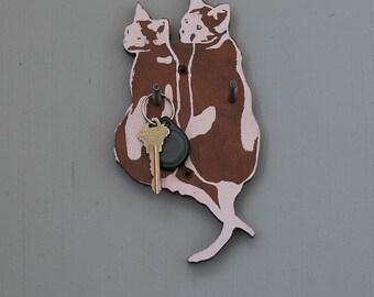 kitty Cat Hook, Key Hook, Reclaimed Wood, Cat Gift