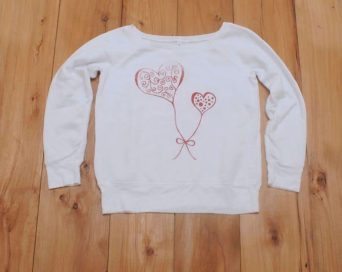 SALE sweatshirt, heart sweater, size L