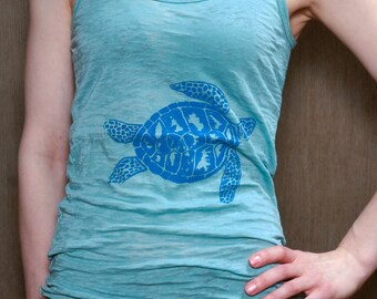 SALE Sea Turtle Tank Top, Size L
