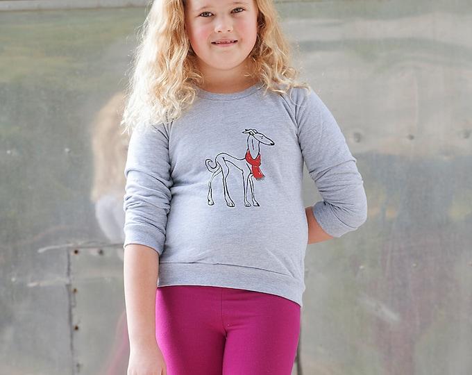 the dapper Greyhound Sweater, Kids Sweatshirt, Cute Shirt, 2T-12Yrs