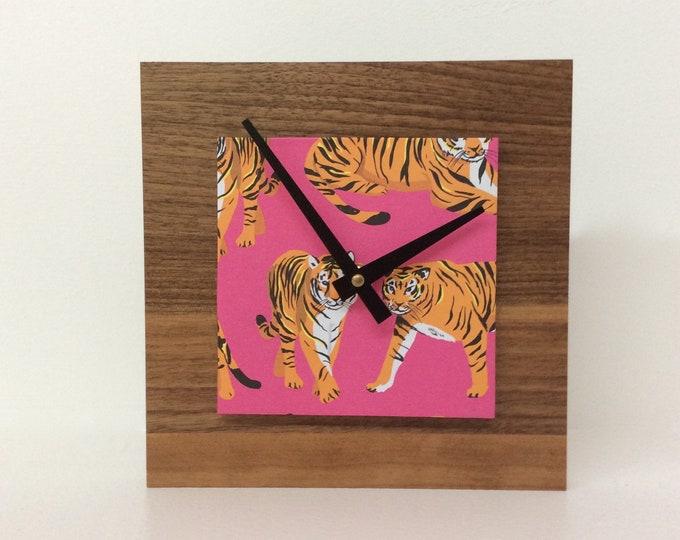Tiger Clock, Pink Clock, Reclaimed Wood Clock, Unique Xmas Gift, Tiger Gift, Housewarming Gift