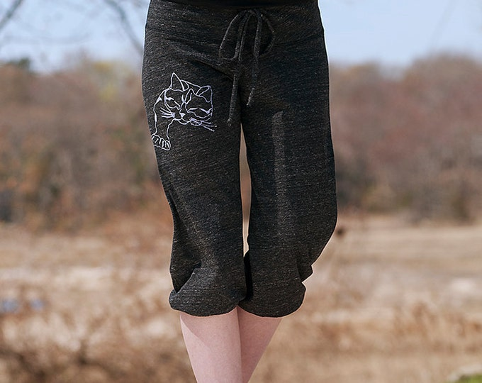 a cat named truck Cropped Pants in Charcoal, Yoga Pants, Cat Pants, Capris, S,M,L,XL