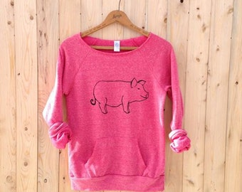this little piggie went to yoga, Pig Sweater, Pink Sweatshirt, Yoga Pullover, Pig Gift, Pink Pig, S-XL