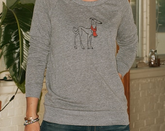 the dapper Greyhound Shirt, Italian Greyhound, Dog Sweater, Slouchy Pullover, S,M,L,XL