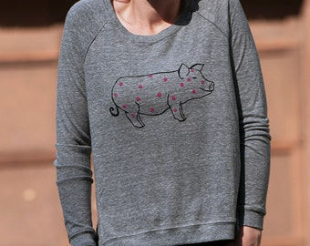 this little piggy went to Yoga Shirt, Spotted Pig Shirt, Slouchy Top, S,M,L,XL