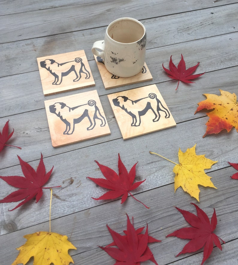Reclaimed Wood Coasters Pug Gift Dog Gift Pug Coasters Stocking Stuffer