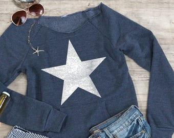 Star sweatshirt with pocket, gift for football fan, gift for grad, raw edge neckline, kangaroo pocket, cozy sweatshirt, gift for girlfriend