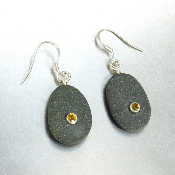 Beachstone and Golden Yellow Sapphire Earrings